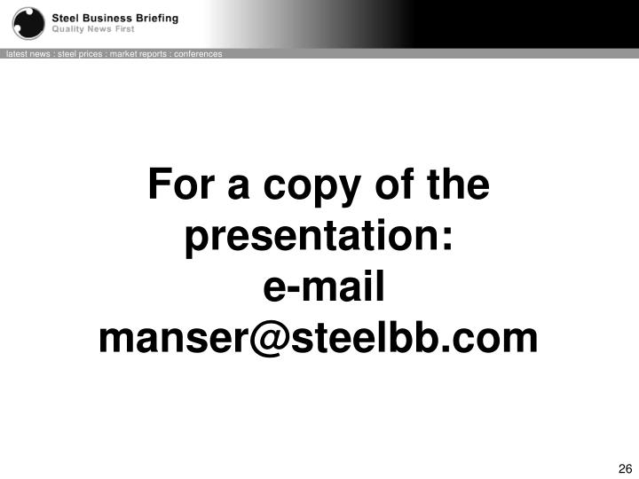 For a copy of the presentation: