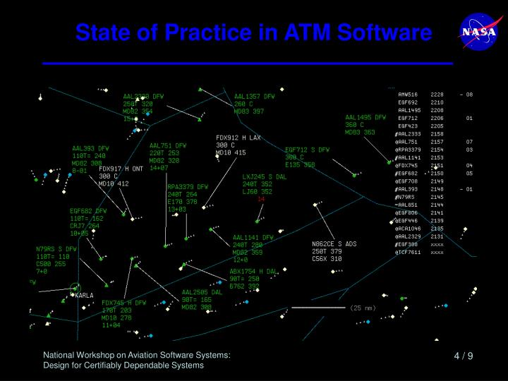 State of Practice in ATM Software