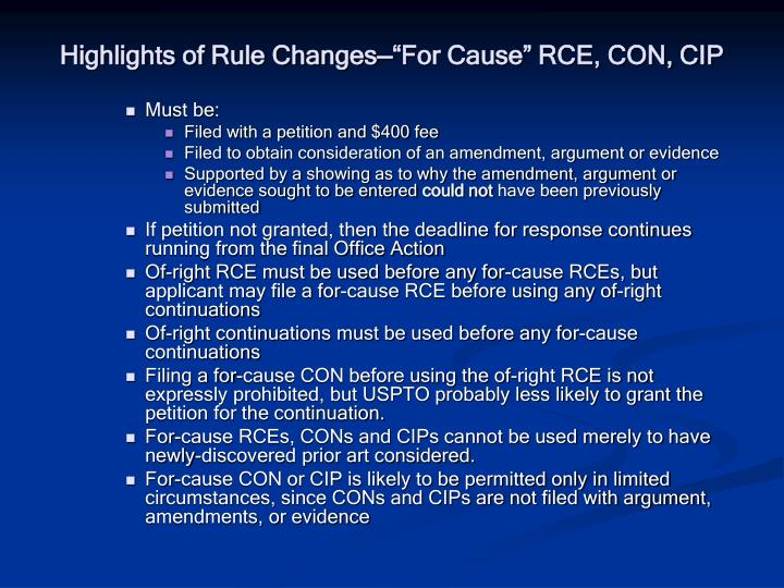 """Highlights of Rule Changes—""""For Cause"""" RCE, CON, CIP"""