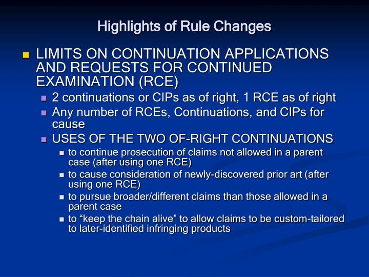 Highlights of Rule Changes