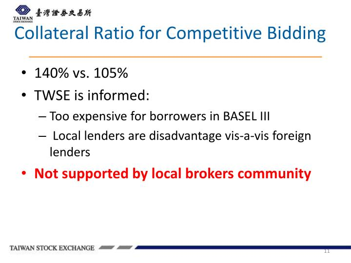 Collateral Ratio for Competitive Bidding