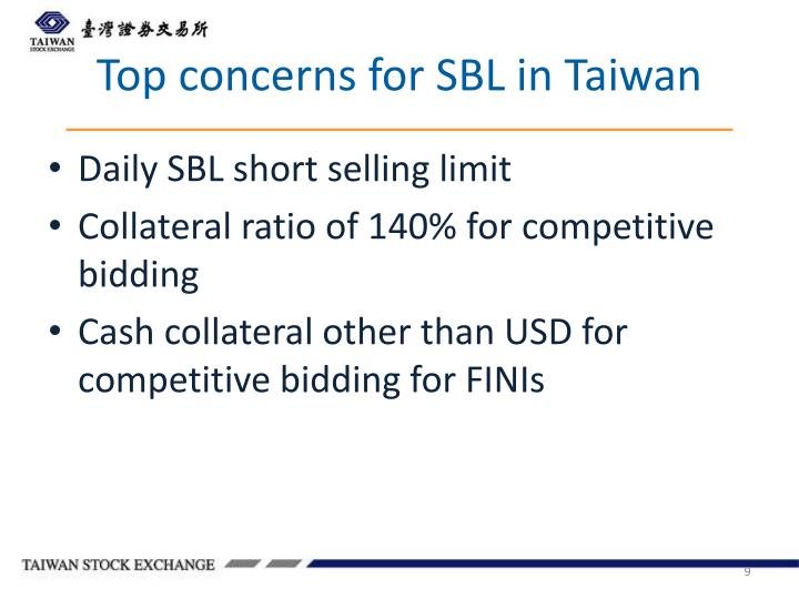 Top concerns for SBL in Taiwan