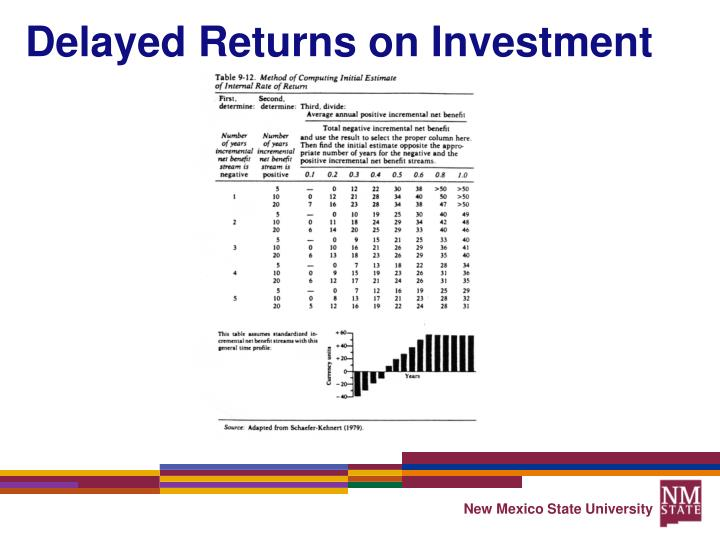 Delayed Returns on Investment