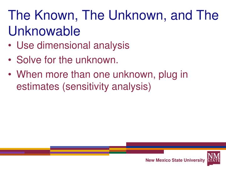 The Known, The Unknown, and The Unknowable
