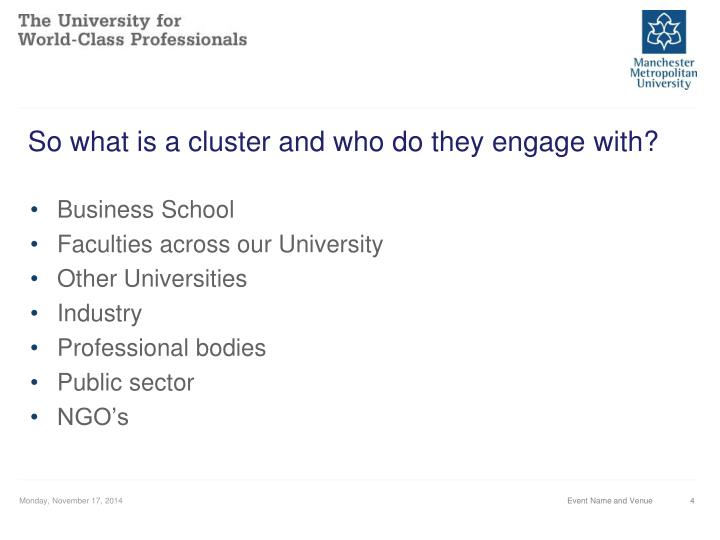 So what is a cluster and who do they engage with?