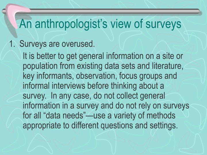 an anthropologist s view of surveys