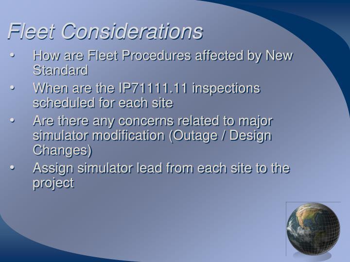 Fleet Considerations