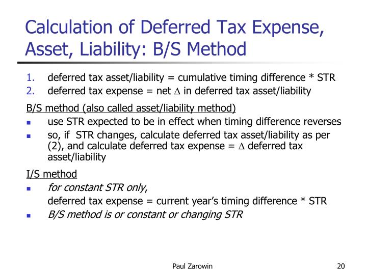 Calculation of Deferred Tax Expense, Asset, Liability: B/S Method