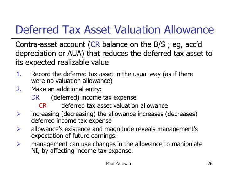 Deferred Tax Asset Valuation Allowance