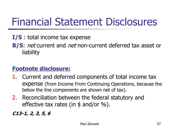 Financial Statement Disclosures