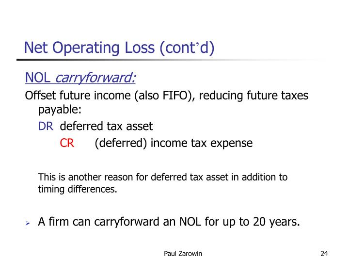 Net Operating Loss (cont