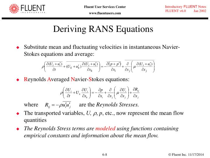 Deriving RANS Equations