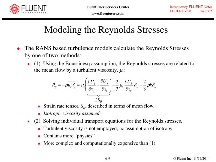 Modeling the Reynolds Stresses