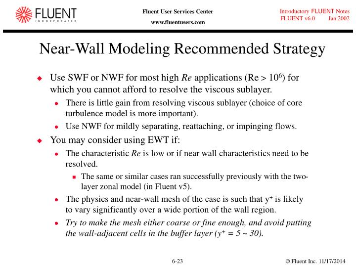 Near-Wall Modeling Recommended