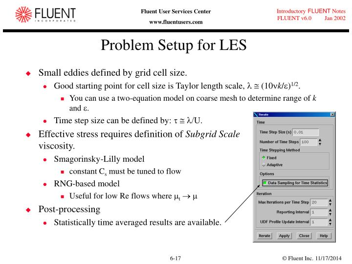 Problem Setup for LES