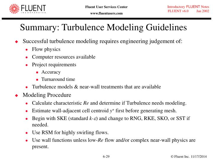Summary: Turbulence Modeling Guidelines