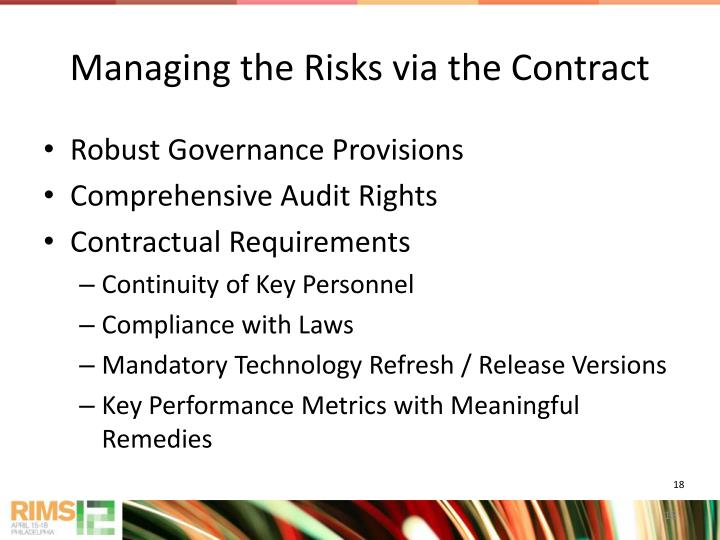 Managing the Risks via the Contract