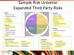sample risk universe expanded third party risks