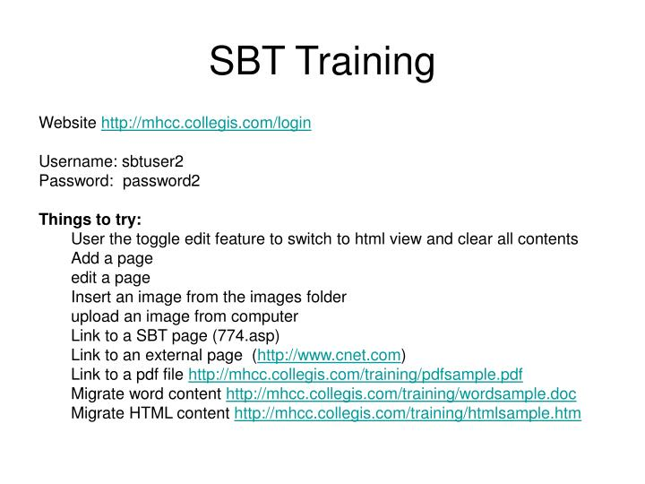 Sbt training