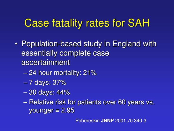 Case fatality rates for SAH