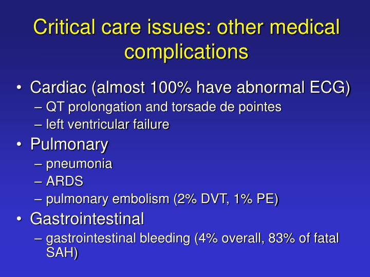Critical care issues: other medical complications