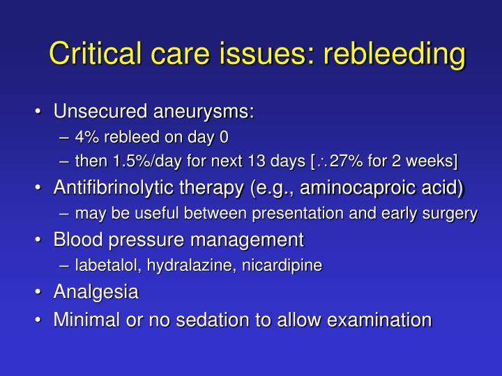 Critical care issues: rebleeding