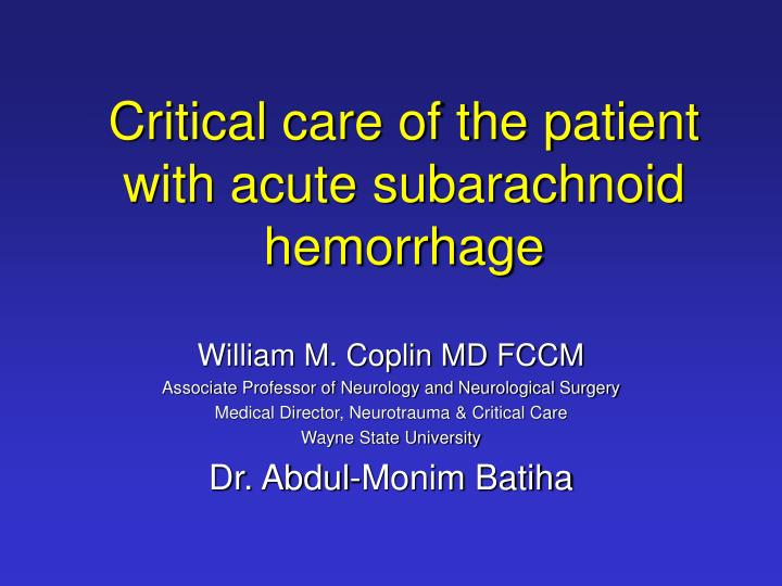 critical care of the patient with acute subarachnoid hemorrhage
