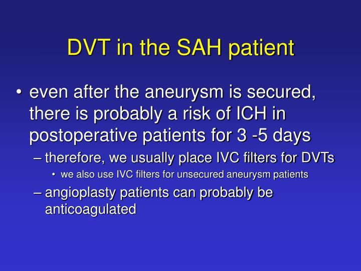 DVT in the SAH patient