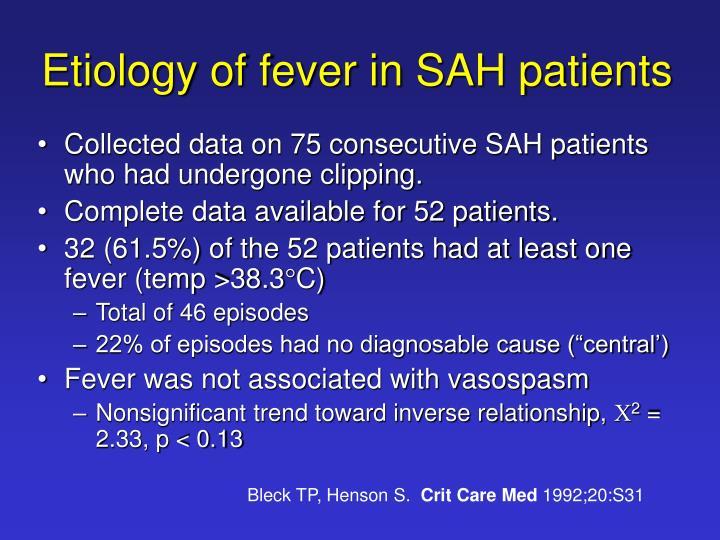 Etiology of fever in SAH patients