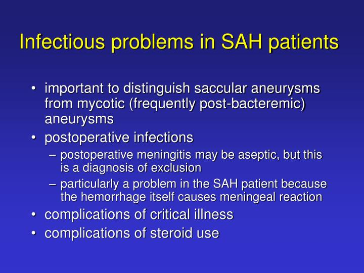 Infectious problems in SAH patients