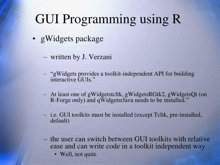 GUI Programming using R