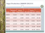 sugar production 2008 09 2012 13