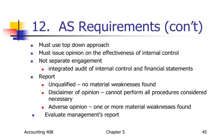 12.  AS Requirements (con't)