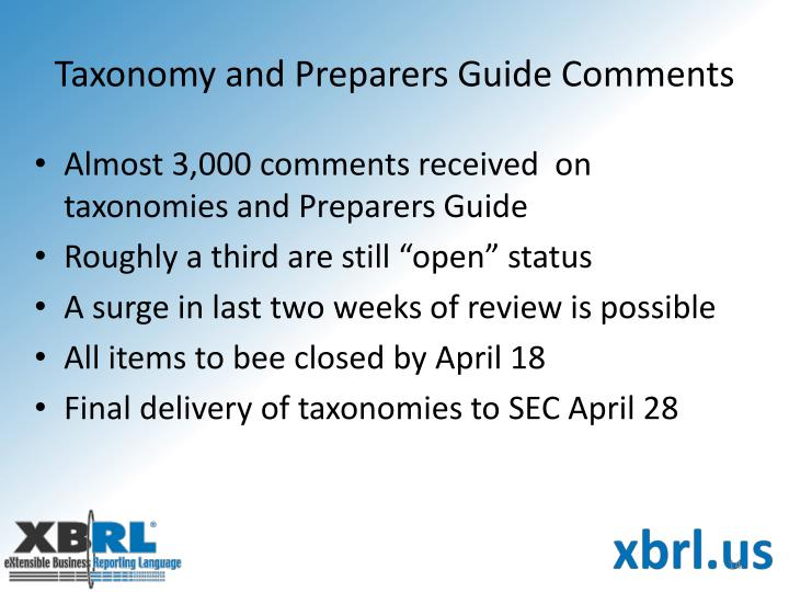 Taxonomy and Preparers Guide Comments
