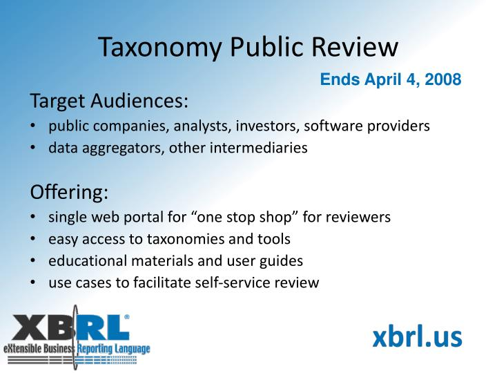 Taxonomy Public Review