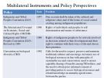 multilateral instruments and policy perspectives