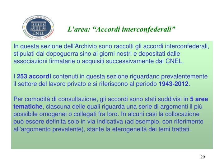 """L'area: """"Accordi interconfederali"""""""