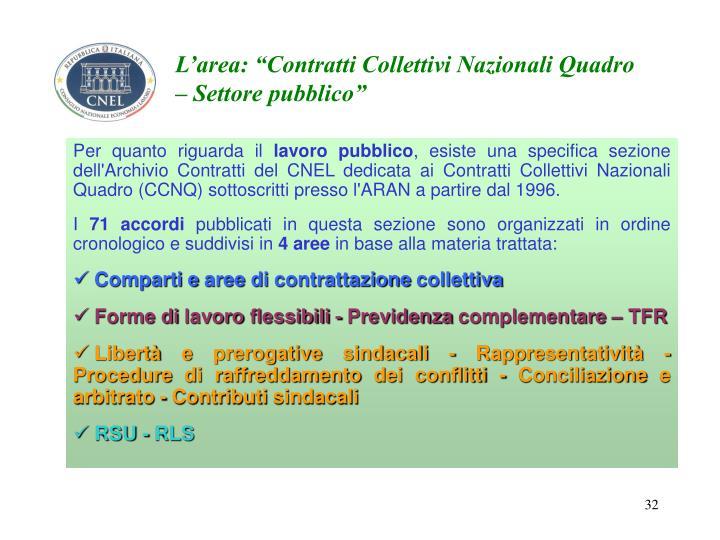"""L'area: """"Contratti Collettivi Nazionali Quadro – Settore pubblico"""""""