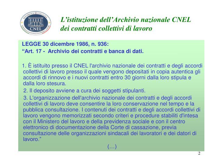 L'istituzione dell'Archivio nazionale CNEL