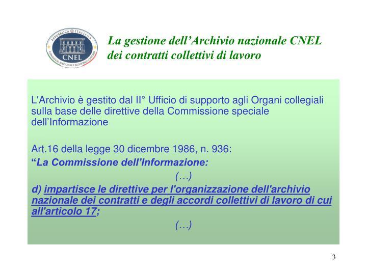 La gestione dell'Archivio nazionale CNEL dei contratti collettivi di lavoro