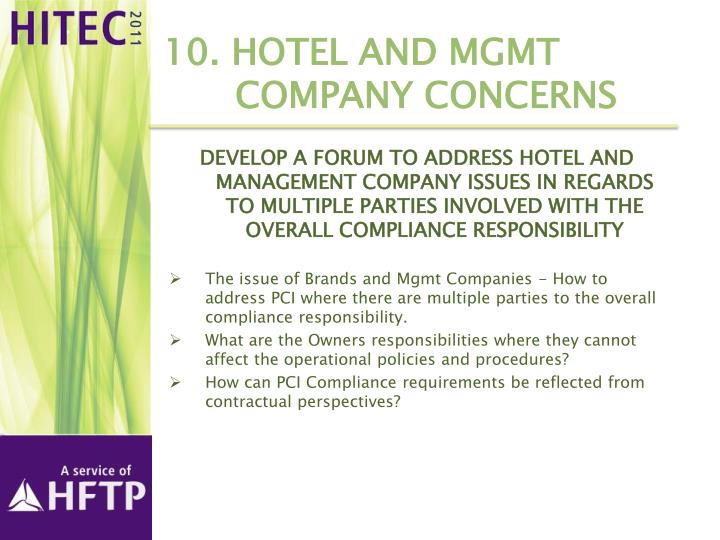 10. Hotel and Mgmt Company Concerns