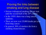 proving the links between smoking and lung disease