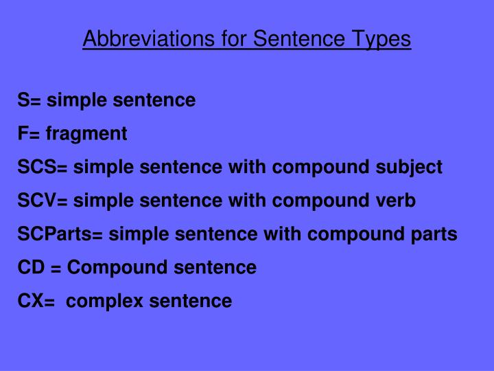 Abbreviations for Sentence Types