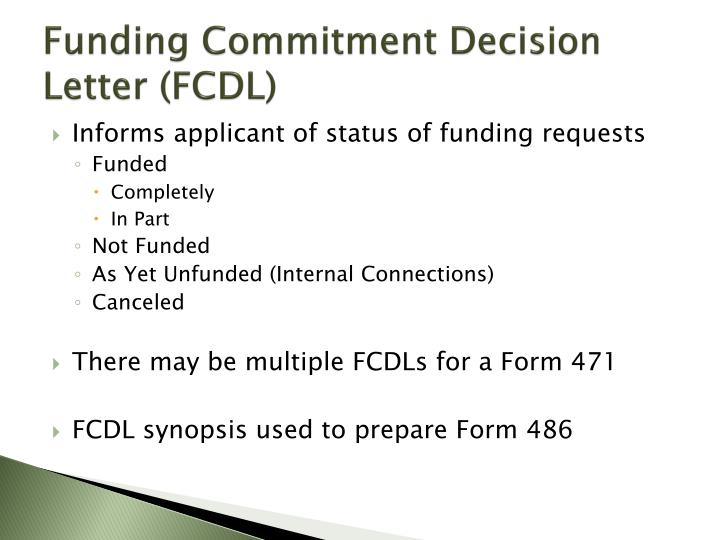 Funding Commitment Decision Letter (FCDL)