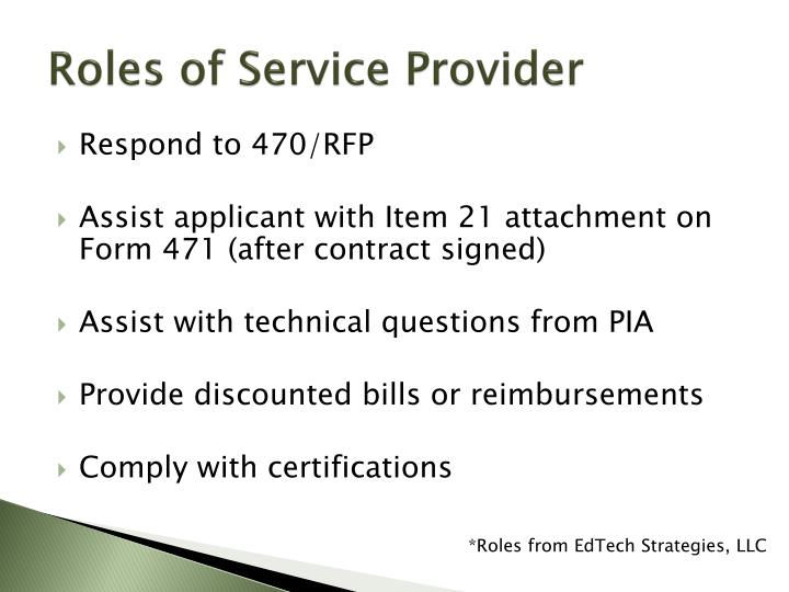 Roles of Service Provider