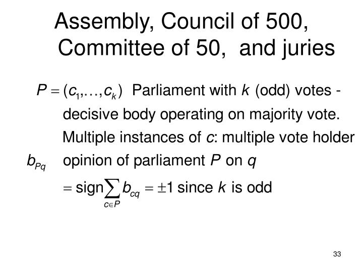 Assembly, Council of 500, Committee of 50,  and juries