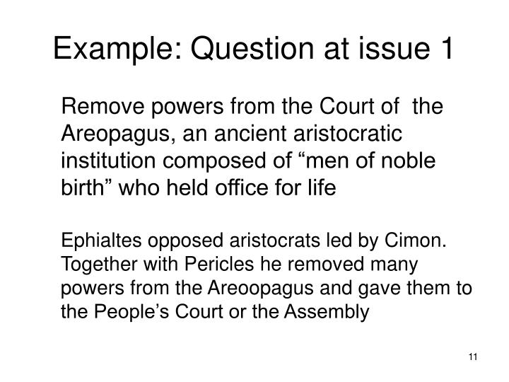 Example: Question at issue 1