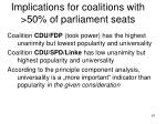 implications for coalitions with 50 of parliament seats