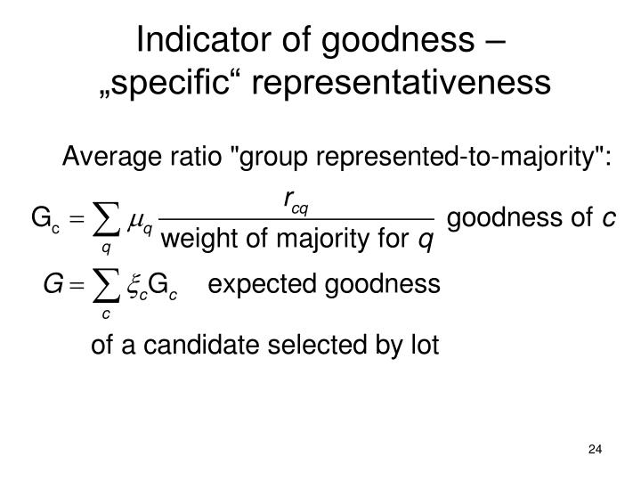 Indicator of goodness –