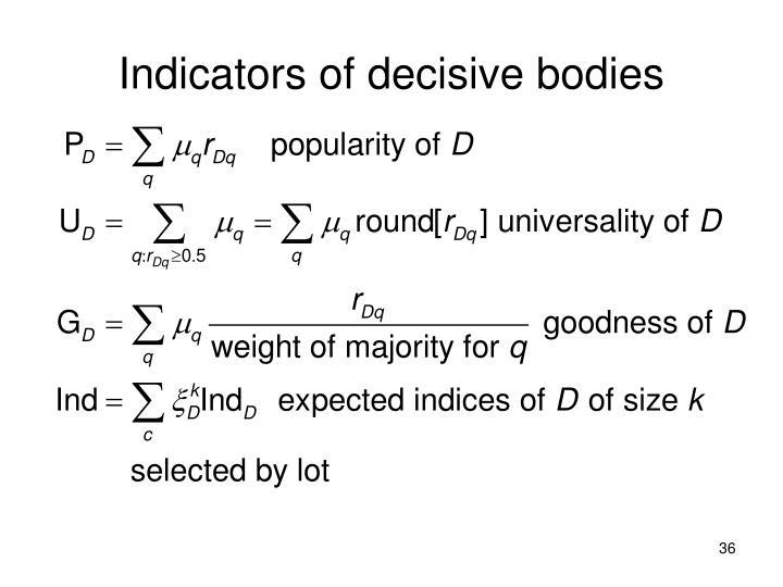 Indicators of decisive bodies